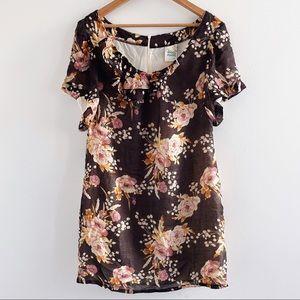 Dagg & Stacey brown floral Sylvie mini dress